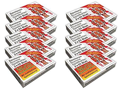 HAC24 10x Senioren Romme Spielkarten je 2x55 Blatt Canasta Bridge Kartenspiel Karten