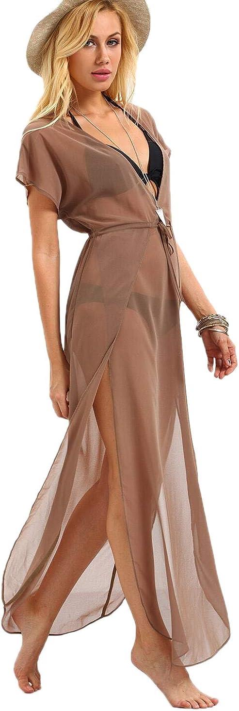 Verdusa Women's Plunging Neck Tie Waist Split Mesh Swimwear Long Cover Up Dress
