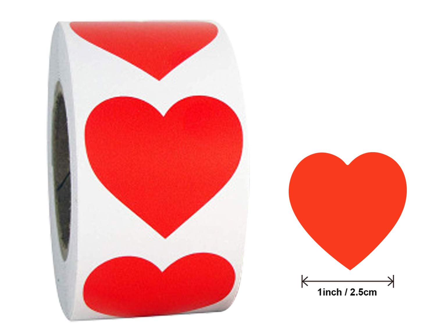 1 Heart Shape Stickers Roll Sticker Labels for Packaging Sealing Total 500 Labels Per Roll