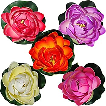 Floating Lotus Medium Multicolor Assorted Artificial Flower (4 inch, Pack of 5)