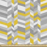 ABAKUHAUS Gris y Amarillo Tela por Metro, Patrón Hogar Años 60 Geométrico Vintage Espiguilla Líneas en Zig Zag, Decorativa para Tapicería y Textiles del Hogar, 1M (148x100cm), Gris
