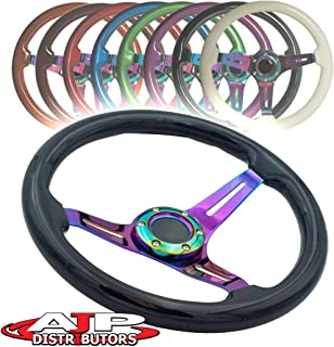 AJP Distributor Universal 345mm 6 Bolt Hole Deep Dish Streak Style Neo Chrome Center Wood Grain Trim Handle Steering Wheel Blank Horn Button JDM Euro VIP Racing Track Drift Drag (Black)