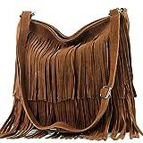 modamoda de - ital bandolera con flecos de gamuza T125, Color:Oscuro Camel