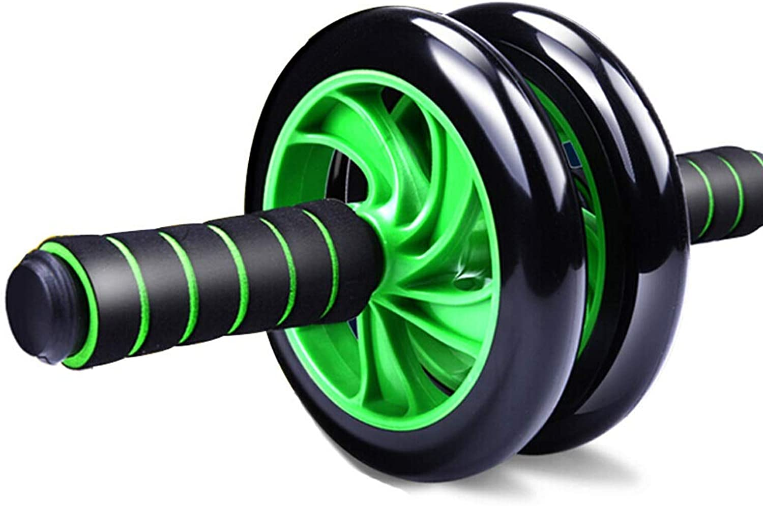Abdominal Wheel Abdomen Core Strength Training Exercise Family Exercise Equipment Mute TwoWheel Abdominal Wheel (color   Green, Size   32  15.5  5.5cm)