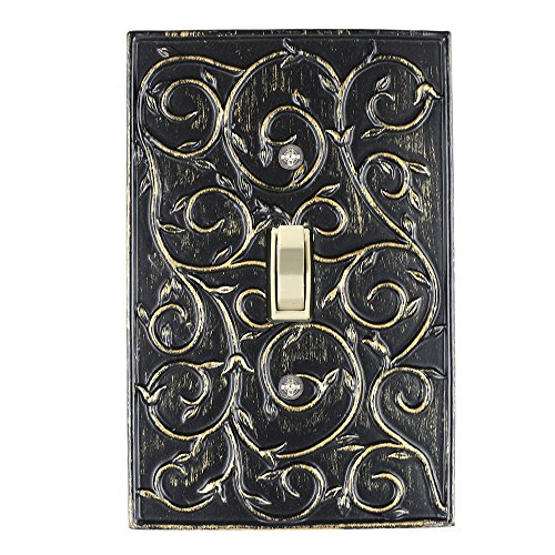 Meriville French Scroll 1 Toggle Wallplate, Single Switch Electrical Cover Plate, Pompeii Gold