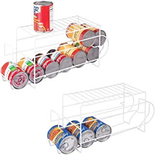 mDesign 2-Tier Metal Wire Standing Pop/Soda and Food Can Dispenser Storage Rack Organizer with Top Shelf for Kitchen Pantry, Countertop, Cabinet - Holds 12 Cans - 2 Pack - White