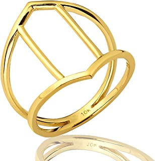 Mr. Bling 10K Yellow Gold Hexagon Cut Out Geometric Design Ring, Available in Sizes 5-9
