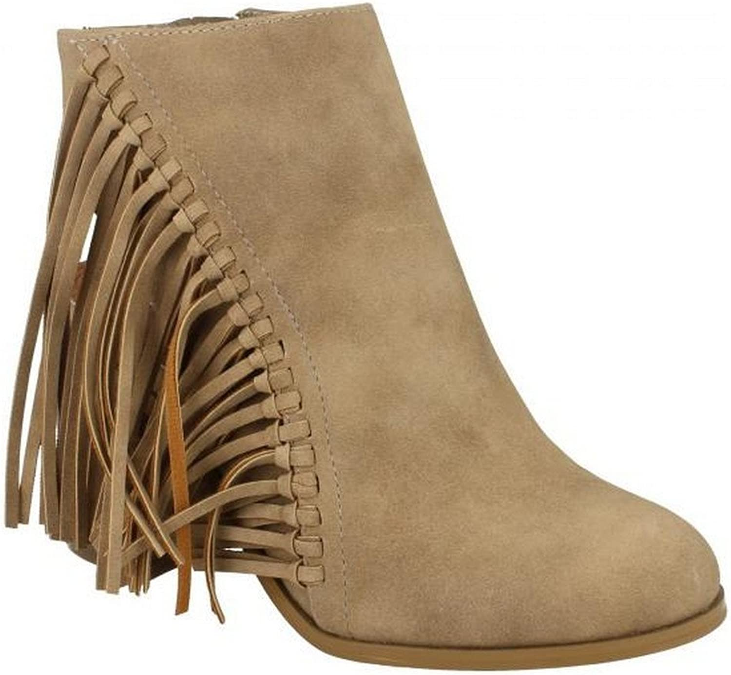 Spot On Womens Ladies Fringed High Heel Ankle Boots