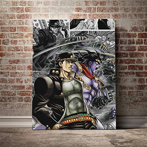 agwKE2 Jotaro Kujo Star Platinum JoJo's Bizarre Canvas Poster Pintura Arte de la Pared Decoración Estudio Decoración del hogar Impresiones / 60x80cm (sin Marco)