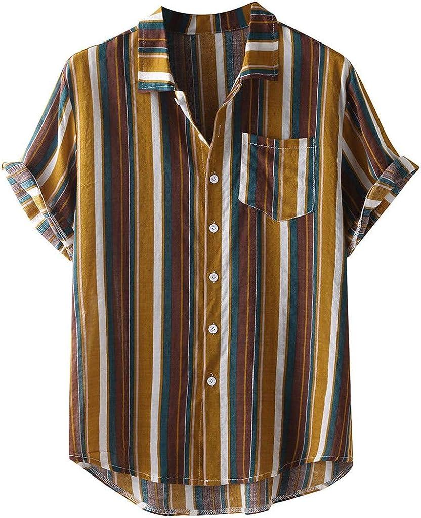 Moxiu Mens Japan Maker New Stripe Printed Hawaiian Button Branded goods Sleeve Short Do Shirts
