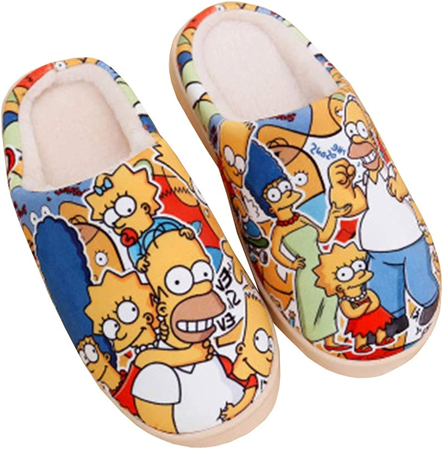 Unisex Winter Slippers Keep Warm Cartoon Simpson Printing Suede Home Cotton Anti-Slip shoes Couple Indoor Outdoor Slipper
