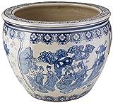 Oriental Furniture 16' Ladies Blue & White Porcelain Fishbowl