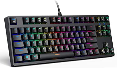 AUKEY Mechanical Keyboard TKL Gaming Keyboard RGB Backlit with Clicky Blue Switch, Compact 87-Key Tenkeyless Anti-Ghosting Wired Keyboard for Typist and Gamer, Black
