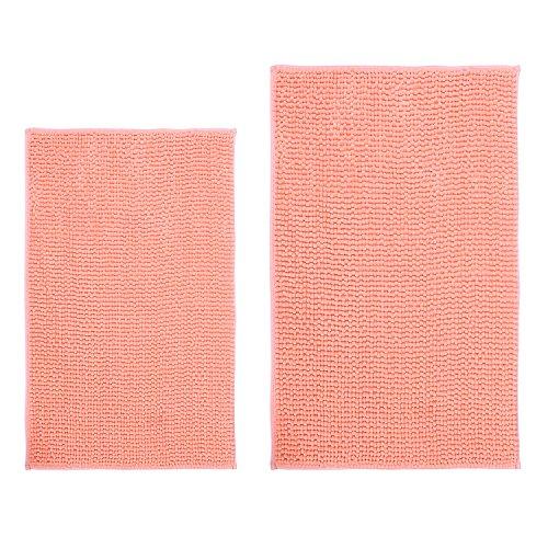 Hevice Soft Microfiber Non-Slip Bath Mats Shaggy Absorbent Chenille Bath Rugs for Bathroom, Bathtub Shower, Machine Washable Coral Orange 31'x20'+16'x24' Set of 2