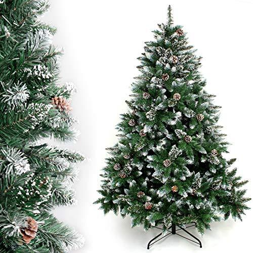 Yorbay Albero di Natale, Pino Artificiale ricoperto da Neve e Decorato da pigne, Materiale PVC + PP + Ferro, Dimensione da 120cm a 240cm (120 cm) Riutilizzabile