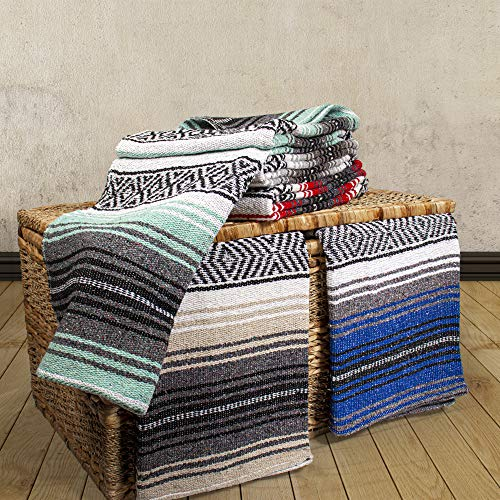 Genuine Mexican Handwoven Blanket, Premium Large Heavyweight Falsa Blanket, Serape & Yoga Blanket | Beach Blanket | Throw Blanket | Picnic Blanket (Traditional, Assorted)