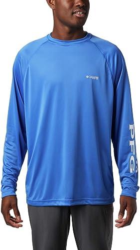 Columbia Hommes's Terminal Tackle manche longue Shirt, Vivid bleu Cool gris Logo, X-grand