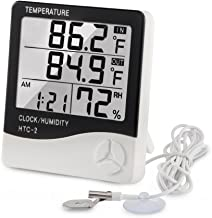 Digital Thermometer Hygrometer Indoor Outdoor Temperature Meter Humidity Monitor with LCD Alarm Clock, 3M Probe Cord Temperature Humidity Gauge for Bedroom Greenhouse Garage Warehouse,Fahrenheit or Ce