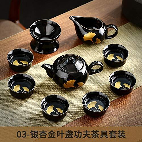 Ksnrang Hoja de Oro Tianmu construyó un Juego de té Completo Juego de té casero Personalizado Horno Cambiado Arena Oro Tetera Taza de té Juego de Regalo-Juego de té de caléndula y Ginkgo