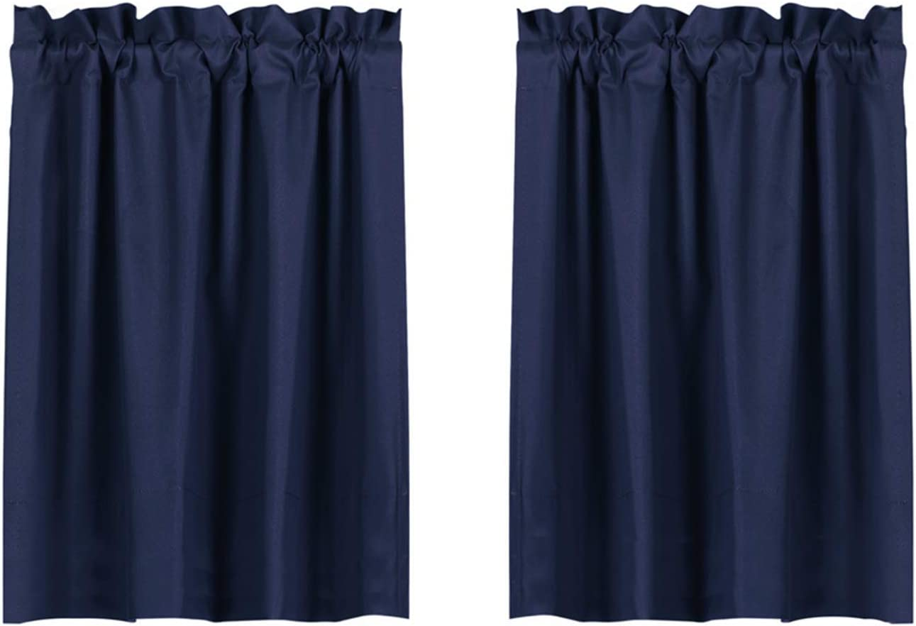 Valea Home Blackout Tiers Curtain for Small Window Rod Pocket Kitchen Curtains Room Darkening Short Curtains for Bedroom, Navy Blue, 30 inch x 36 inch, 2 Panels