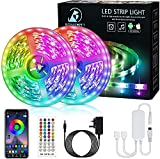 Bonve Pet LED Lights, 12M RGB LED Strip Light with Remote, Bluetooth App Control, Music Sync, Colour Changing Strip Lighting for Bedroom Room TV Party Christmas