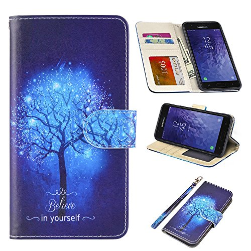UrSpeedtekLive Samsung Galaxy J3 2018 Case, Galaxy J3 Achieve/Amp Prime 3/J3 Eclipse 2/J3 Prime 2 Premium PU Leather Wristlet Flip Wallet Case Cover with Card Slots & Stand,Believe in Yourself