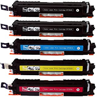 EliveBuyIND® 5-Pack Compatible 130A CF350A CF351A CF352A CF353A Toner Cartridge Replacement for HP Color LaserJet Pro MFP M176n M177fw (2 Black, 1 Cyan, 1 Magenta, 1 Yellow)