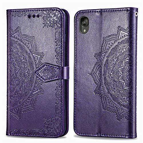 COTDINFORCA Moto E6 Case Leather Wallet Flip Magnetic Closure Case Moto E6 Phone Case with Card Slots Protective Cover Case for Motorola Moto E6. SD Mandala - Purple