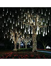 Eeieer Led Meteorenregenlampen, vallende regendruppel-lampen, ijspegel-lampen, waterbestendig, 30 cm, 8 buizen, 192 leds, als decoratie voor feest, bruiloft, vakantie, Kerstmis