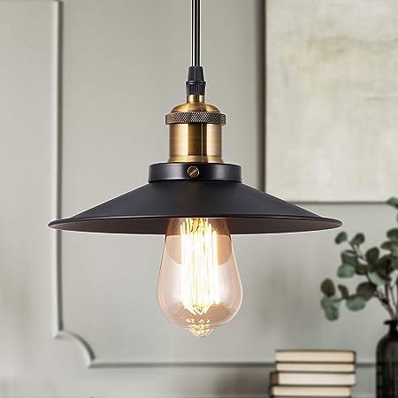 Métal Vintage Suspensions Luminaires, Retro Edison Loft Suspension Abat-jour Noire Luminaires, Eclairage de Plafond Luminaire Plafonnier Lampe E27