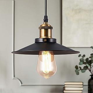 Métal Vintage Suspensions Luminaires, Retro Edison Loft Suspension Abat-jour Noire Luminaires, Eclairage de Plafond Lumina...