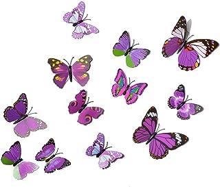 Sfit Papillon Magnet Frigo Aimant Stickers Muraux Scrapbooking Autocollant Mural Décoratif pour Chambre 1Set (Violet)