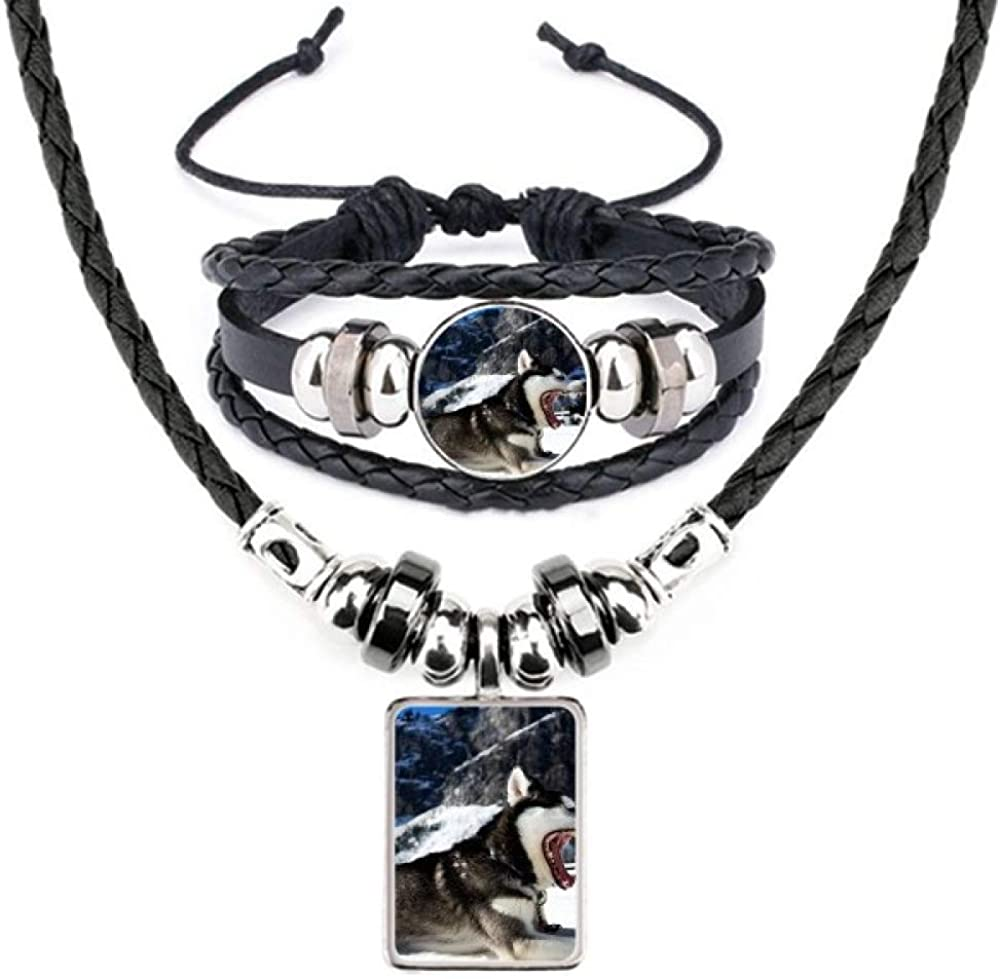 Big Ranking TOP20 Mouth Dog Gifts Snow Husky Leather Bracelet Necklace Jewel Picture