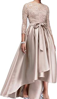 kxry High Low Mother of The Bride Dress 3/4 Sleeve Beads Lace Wedding Party Champagne
