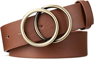 Mother's Day Gift BROMEN Belt for Women Leather Belts for Dress Jeans Pants Waist Belt with Double O-Ring Buckle