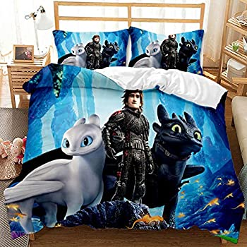 Satauly How to Train Your Dragon Bedding Set Full Size Cartoon 3D Movie Duvet Cover Sets Boys Girls Kids Comforter Cover 3 Pieces Bed Sets 1 Duvet Cover 2 Pillowcase No Comforter Included