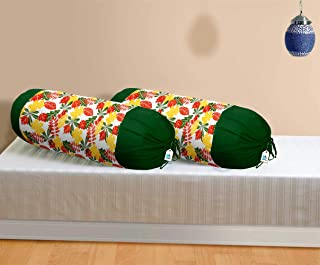 DECOTREE 100% Cotton 2 Pieces Bolster Cover Set - 16 X 32 inches, Yellow