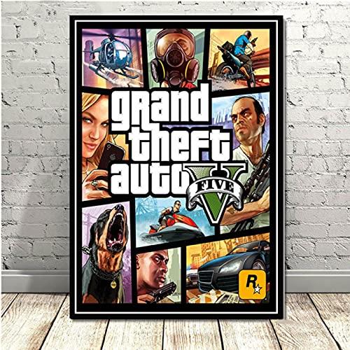 Arte su tela 40x60cm Senza cornice Videogioco GTA 5 Grand Theft Auto Poster Picture Home Art Decor Pittura