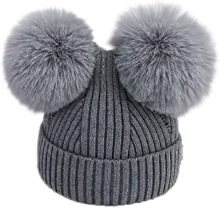 Baby and Mom Beanie Cap Vinjeely Infant Unisex Baby Classic Striped Solid Pompom Hat Headgear Headwear Autumn Winter Cap