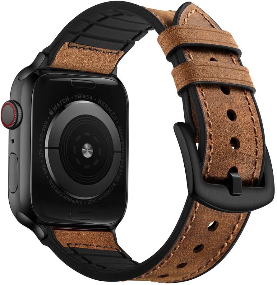 OUHENG Compatible with Apple Watch Band 40mm 38mm, Sweatproof Genuine Leather and Rubber Hybrid Band Strap Compatible with iWatch Series 6 5 4 3 2 1 SE, Brown Band with Black Adapter