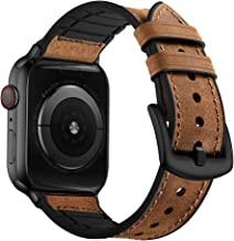 OUHENG Compatible with Apple Watch Band 42mm 44mm, Sweatproof Genuine Leather and Rubber Hybrid Band Strap Compatible with iWatch Series 5 Series 4 Series 3 Series 2 Series 1, Brown