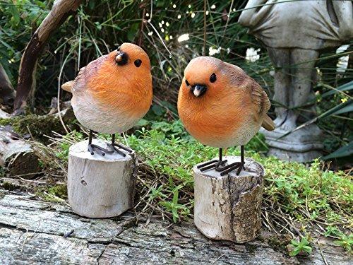 London Ornaments Pair Of Cute Robins On A Log