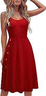 LAISHEN Women's Summer Spaghetti Strap Button Ribbed Split Sundress Casual Midi Dress