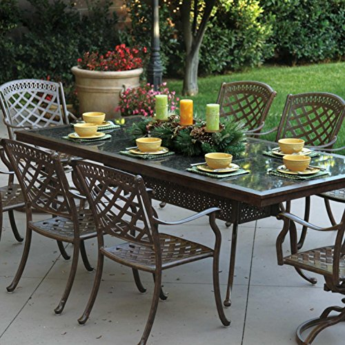 Darlee Sedona 9 Piece Cast Aluminum Patio Dining Set with Rectangular Granite Top Table - Mocha/Brown Granite Tile