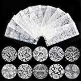 10 roll White Nail Art Transfer Foil Lace Flower Nail Foils Transfer Sticker Nail Decoration