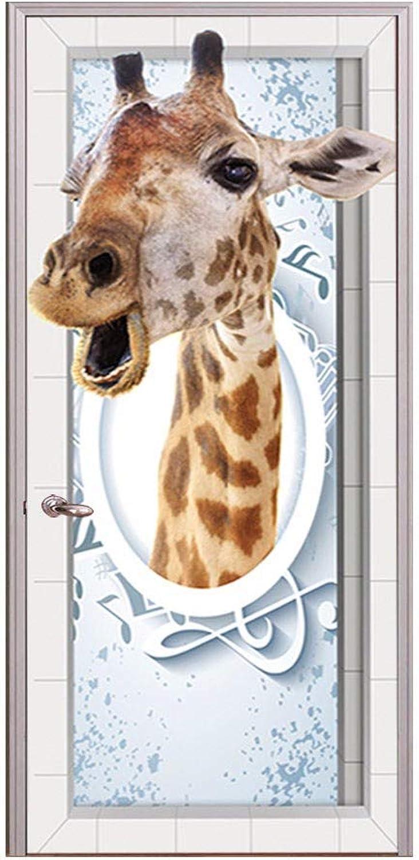 THYGL Waterproof 3D creative door sticker selfadhesive paper decoration bedroom living room wall stickers door stickers giraffe