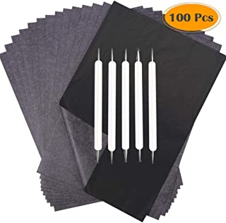 Selizo 100 Sheets Carbon Paper Graphite Transfer Tracing Paper with Embossing Tracing Stylus for Tracing Wood Burning Carving Paper Canvas
