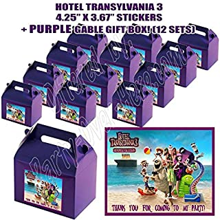 Hotel Transylvania Summer Vacation Movie 3 Party Favor Boxes with Thank You Decals Stickers Loots Purple Birthday 12 Pieces Great Seller …