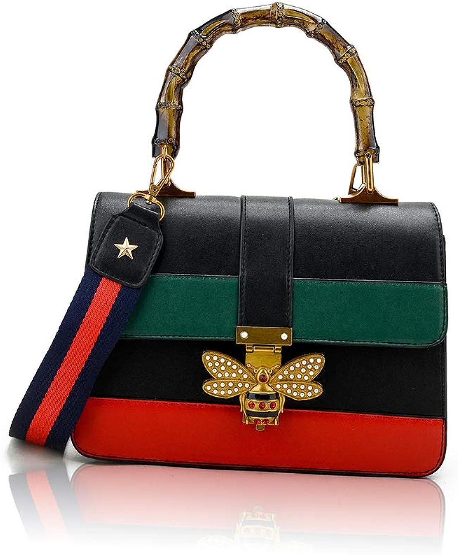 Circue Women's Bamboo Handle Designer Shoulder Bag PU Leather Top Handle Bag Crossbody Bag with Bee