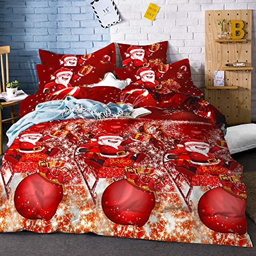 Merry Christmas Bedding Set Red New Year Duvet Cover Set Cartoon Cabin...